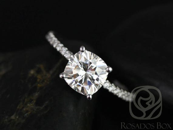 SALE Rosados Box Ready to Ship Blanche 7.5mm 14kt White Gold FB Moissanite Cushion and Diamond FULL Eternity Engagement Ring