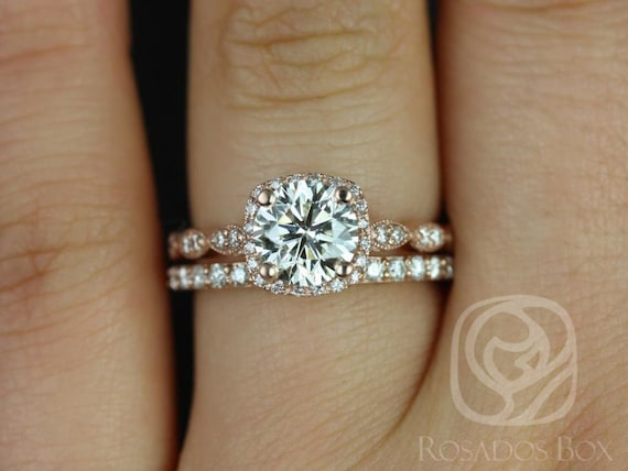 Rosados Box Christie 7mm & Taylor 14kt Rose Gold Forever One Moissanite Diamond Halo WITH Milgrain Wedding Set