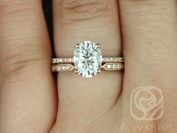 Rosados Box Hillary 9x7mm & Stella 14kt Rose Gold Oval Forever One Moissanite Diamond Basket Wedding Set Rings