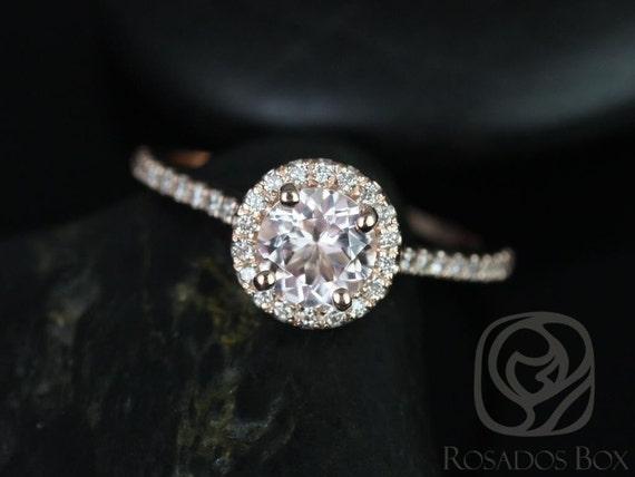 6mm Round Morganite Diamonds Petite Dainy Halo Engagement Ring,14kt Solid Rose Gold,Kubian 6mm,Rosados Box
