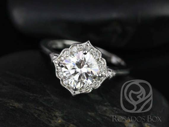 Rosados Box Lily 7mm 14kt White Gold Cushion F1- Moissanite and Diamond Kite Halo WITH Milgrain Engagement Ring