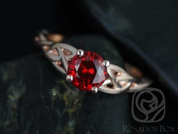 6mm Round Ruby Celtic Love Knot Triquetra Engagement Ring,14kt Solid Rose Gold,Cassidy 6mm,Rosados Box