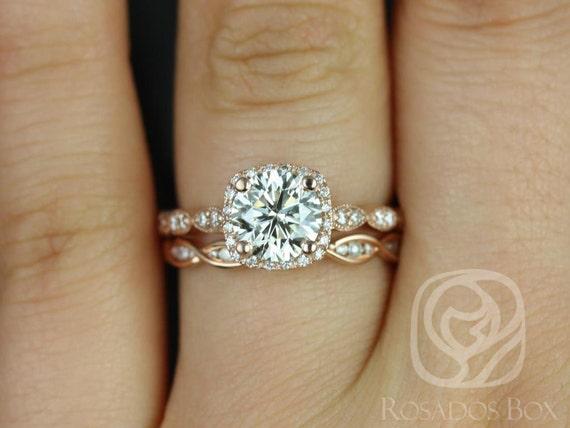 Rosados Box Christie 7mm & Ember 14kt Gold Forever One Moissanite Diamond Halo WITH Milgrain Wedding Set Rings
