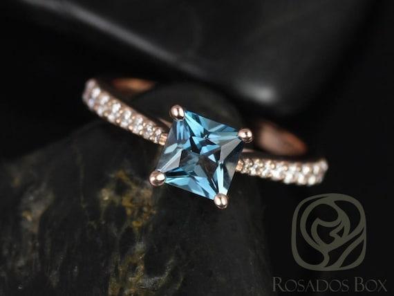 Rosados Box Taylor 6mm 14kt Rose Gold Princess London Topaz and Diamonds Cathedral Engagement Ring