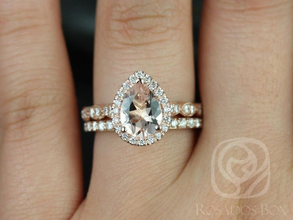 Rosados Box Sydney 9x7mm & Taylor 14kt Rose Gold Pear Morganite and Diamond WITH Milgrain Halo Wedding Set