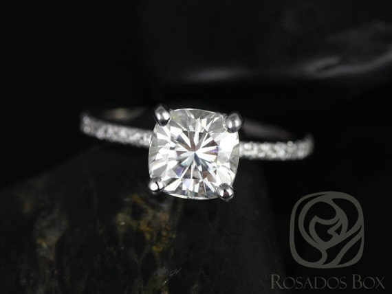 Rosados Box Ready to Ship Heidi 7mm 14kt White Gold Cushion Forever One Moissanite Diamond Hidden Pave Basket Engagement Ring