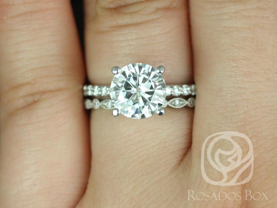 2.25ct Round Forever One Moissanite Diamonds Art Deco Solitaire Wedding Set Rings Rings,14kt Solid White Gold,Sarah 8.5mm & Gwen,Rosados Box