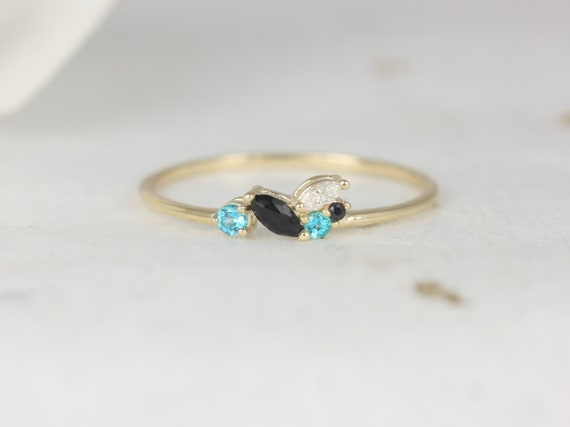 Blue Skye 14kt Solid Gold Diamond Topaz Onyx Marquise Round Art Deco Dainty Cluster Stacking Ring,Rosados Box