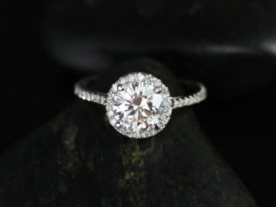 1.25ct Round Forever One Moissanite Diamonds Dainty Pave Halo Engagement Ring,14kt White Gold,Kubian 7mm,Rosados Box