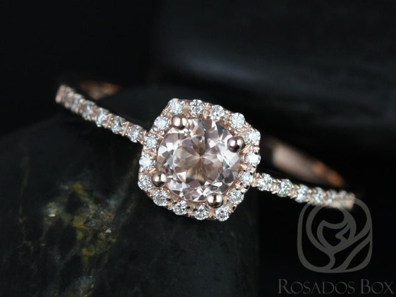 Rosados Box Ready to Ship Barra 5mm 14kt Rose Gold Round Morganite and Diamonds Cushion Halo Engagement Ring