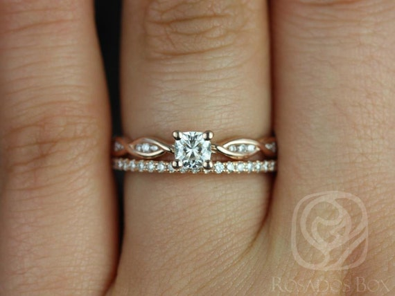 Rosados Box Ember 4mm & Romani 14kt Rose Gold Infinity DNA Twist Cushion Forever One Moissanite Diamonds Wedding Set
