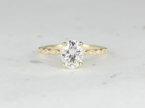 1.50cts Oval Forever One Moissanite Diamond Petite Vintage WITH Milgrain Engagement Ring, 14kt Solid Yellow Gold, Neda 8x6mm, Rosados Box