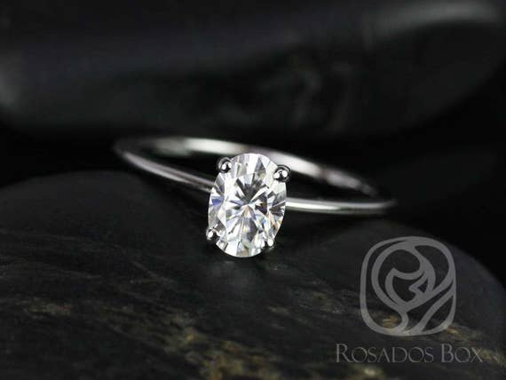 Ready to Ship Oval Forever One Moissanite Thin 4 Prong Cathedral Solitaire Engagement Ring,14kt White Gold,Skinny Rhonda 7x5mm,Rosados Box