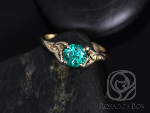 6mm Round Emerald Celtic Love Knot Triquetra Engagement Ring, 14kt Solid Yellow Gold, Teagan 6mm, Rosados Box
