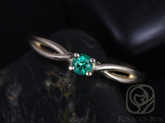 Rosados Box Erika 3.5mm 14kt Yellow Gold Round Rainforest Green Topaz Double Twist Engagement Ring