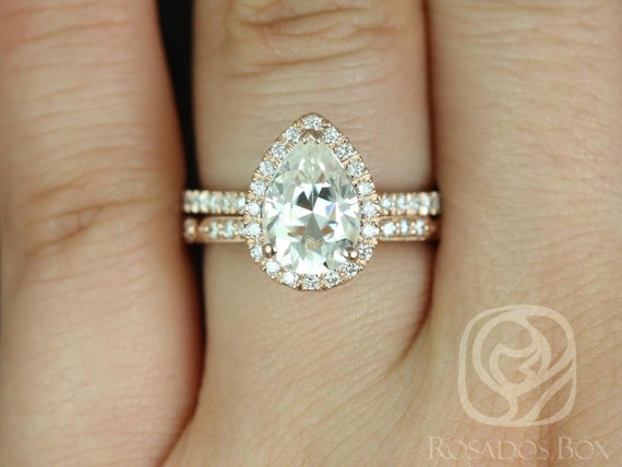 2ct Pear Forever One Moissanite Diamonds Art Deco Thin Halo Wedding Set Rings Rings,14kt Solid Rose Gold,Toni 10x7mm & Stella,Rosados Box