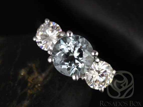 Rosados Box Robyn 7mm 14kt White Gold Round Aquamarine F1- Moissanites 3 Stone Engagement Ring