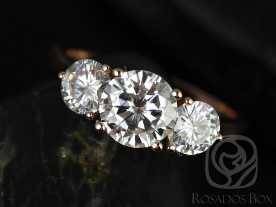 1.25cts Round Forever One Moissanite 3 Stone Engagement Ring, 14kt Solid Rose Gold, Tina 7mm, Rosados Box