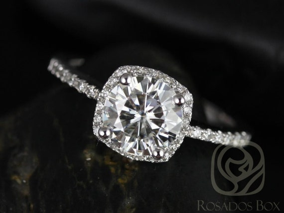 Rosados Box Barra 7mm 14kt White Gold Round F1- Moissanite and Diamonds Cushion Halo Engagement Ring
