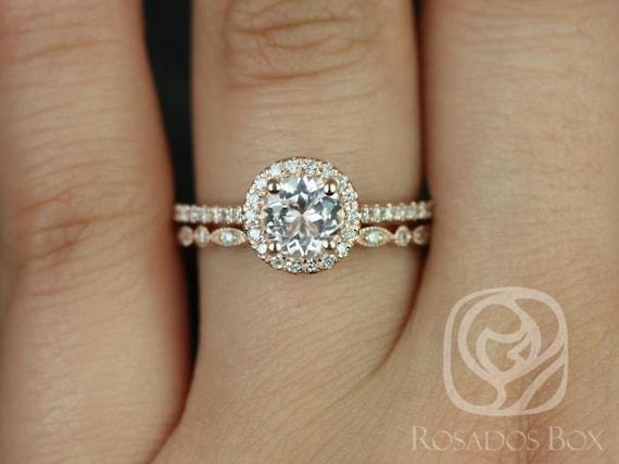 Rosados Box Kubian 6mm & Ultra Petite Bd Eye 14kt Rose Gold Round Morganite and Diamonds Halo Wedding Set