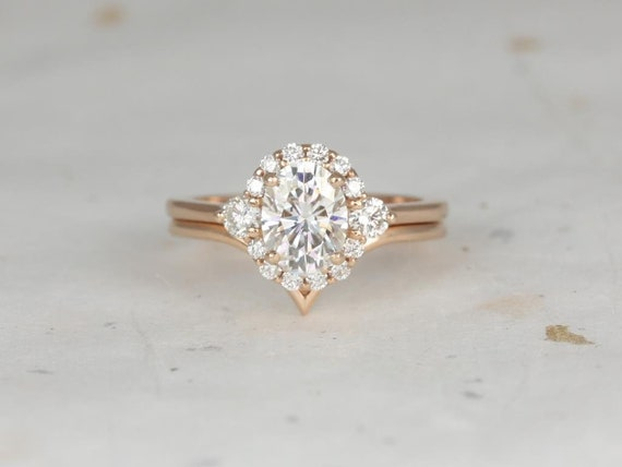 Rosados Box Britney 8x6mm & Willow 14kt Rose Gold Oval Forever One Moissanite and Diamonds Halo Chevron Wedding Set