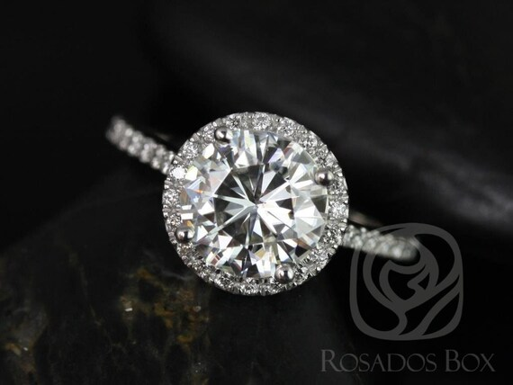 2ct Round Forever One Moissanite White Sapphires Micro Pave Dainty Halo Engagement Ring,14kt White Gold,DIAMOND FREE Kubian 8mm,Rosados Box