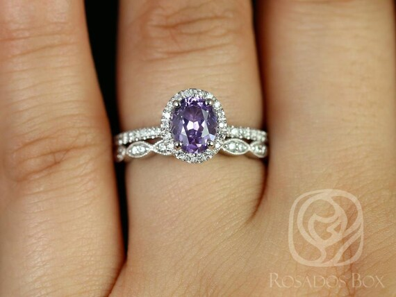 Rosados Box Ready to Ship Federella & Christie 1.17cts 14kt White Gold Oval Lilac Purple  Sapphire Diamond Halo Wedding Set