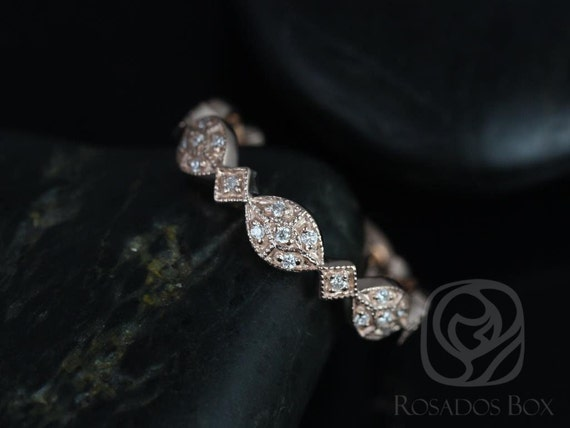 Rosados Box Marquisa 14kt Rose Gold Vintage Styled Oval and Marquise Diamonds ALMOST Eternity Band