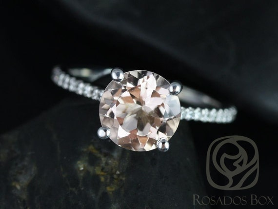 Eloise 8mm 14kt White Gold Morganite Diamonds Thin Cathedral Round Solitaire Accent Engagement Ring,Rosados Box