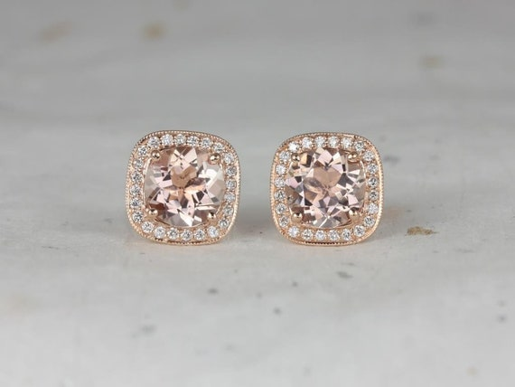 Rosados Box Ready to Ship Rheine 14kt Rose Gold Round Morganite Diamonds Cushion Halo WITH Milgrain Stud Earrings