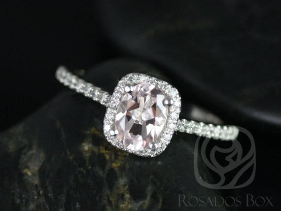 Rosados Box Ready to Ship Romani 7x5mm Platinum Oval Morganite and Diamonds Cushion Halo Engagement Ring