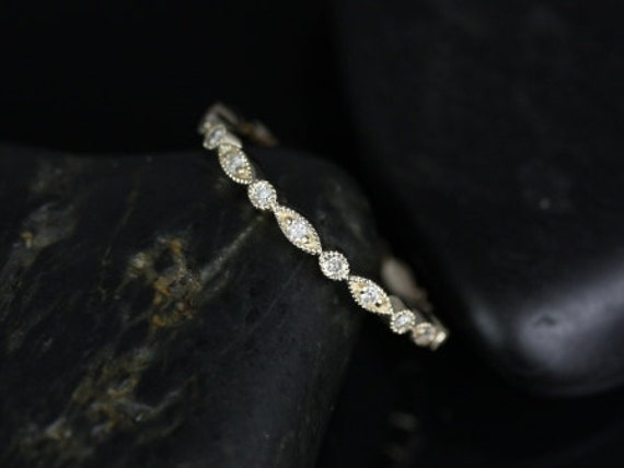 Ultra Petite Bead & Eye/Gwen 14kt Yellow Gold Thin Diamond Art Deco WITH Milgrain Diamond FULL Eternity Band Stack Ring,Rosados Box