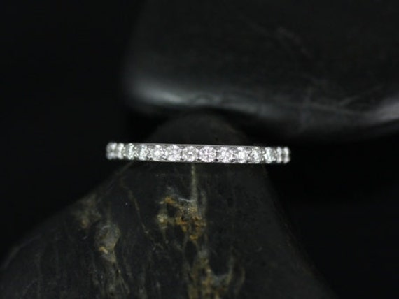 Thin Diamond Shared Prong Matching Band to Tiffani/Sarah HALFWAY Eternity Ring,14kt Solid White Gold,Rosados Box