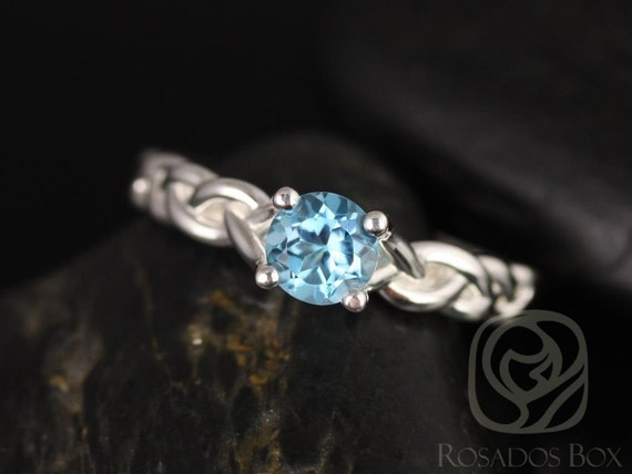 Rosados Box Prudence 5mm 14kt White Gold Round Sky Blue Topaz Braided Engagement Ring