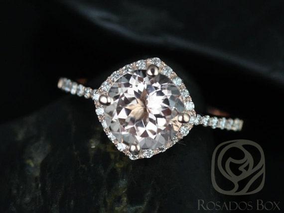 Rosados Box Kitana 8mm 14kt Rose Gold  Morganite and Diamonds Cushion Halo Engagement Ring
