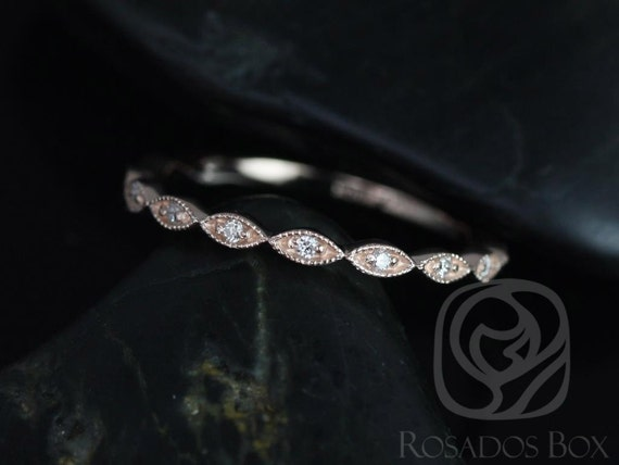Ultra Petite Leah 14kt Rose Gold Tiny Art Deco Diamond WITH Milgrain ALMOST Eternity Band Stack Ring,Rosados Box
