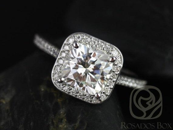 Rosados Box Hollie 7.5mm 14kt White Gold Cushion Forever One Moissanite Diamonds Halo Engagement Ring