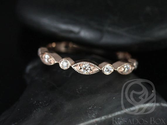 Rosados Box Ready to Ship Original Bead & Eye 14kt Rose Gold Vintage Style Diamond ALMOST Eternity Band