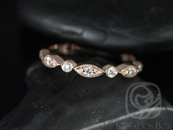 Rosados Box Original Bead & Eye 14kt Rose Gold Vintage Style Diamond HALFWAY Eternity Band