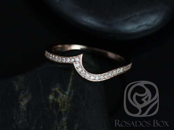 14kt Rose Gold Matching Band to Odala 5.5mm Curved Diamond HALFWAY Eternity Band Ring,Rosados Box