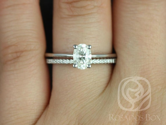 1ct Skinny Rhonda 7x5mm & Marcelle 14kt White Gold Oval Forever One Moissanite Diamond Dainty Oval Solitaire Wedding Set Rings,Rosados Box
