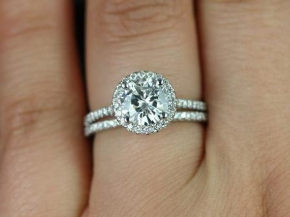 1.25ct Round Forever One Moissanite Diamonds Dainty Micro Pave Halo Wedding Set Rings Rings,14kt White Gold,Kubian 7mm,Rosados Box