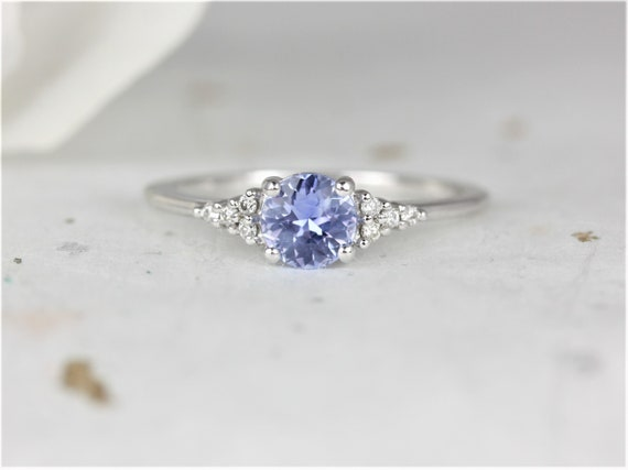 0.75ct Ready to Ship Malia 14kt White Gold Cornflower Lavender Sapphire Diamonds Dainty Round 3 Stone Cluster Ring,Rosados Box