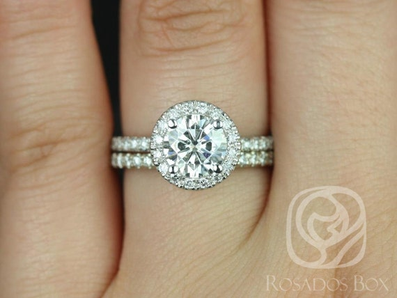 1ct Ready to Ship Callie 6.5mm 14kt White Gold Forever One Moissanite Diamonds Dainty Pave Round Halo Wedding Set Rings,Rosados Box