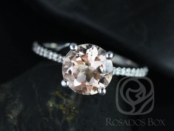 DIAMOND FREE Eloise 8mm 14kt White Gold Morganite White Sapphire Thin Cathedral Round Solitaire Accent Engagement Ring,Rosados Box