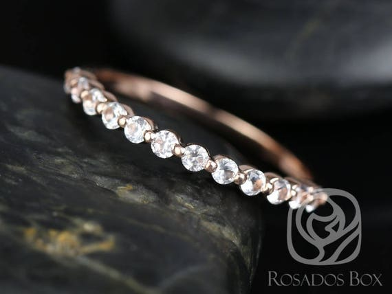 DIAMOND FREE Petite Naomi,Petite Bubble & Breathe Band 14kt Rose Gold White Sapphire Minimalist HALFWAY Eternity Ring,Rosados Box