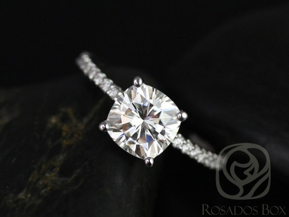 Rosados Box Blanche 7.5mm 14kt White Gold F1- Moissanite Cushion and Diamond FULL Eternity Engagement Ring
