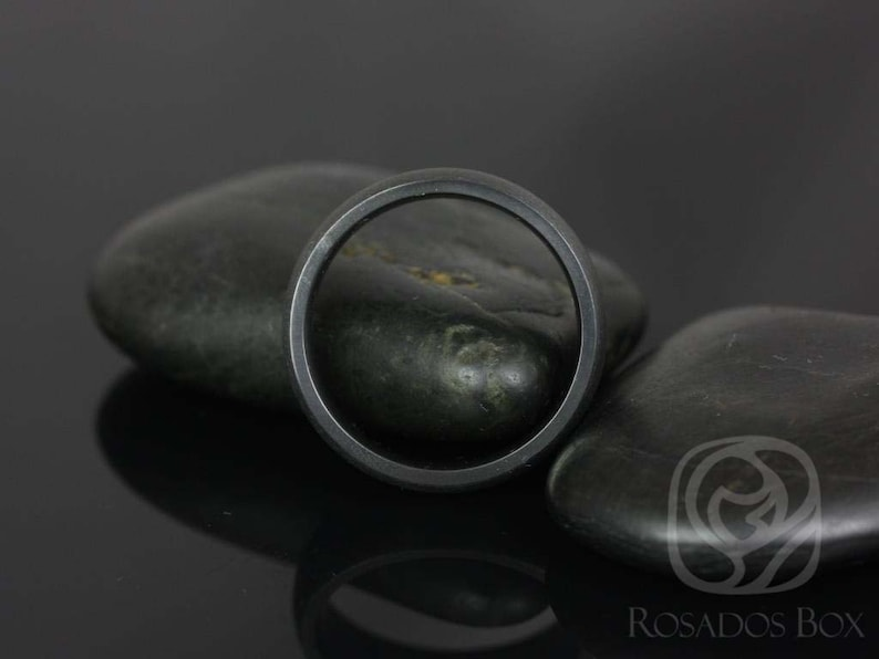 Rosados Box Mason 7mm Matte Black Zirconium Classic Plain Band