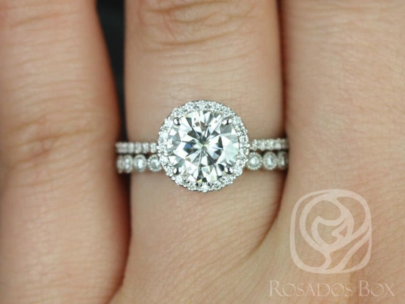 1.50ct Round Forever One Moissanite Diamond Thin Pave Halo Wedding Set Rings,14kt White Gold,Kimberly 7.5mm & Petite Bubbles,Rosados Box