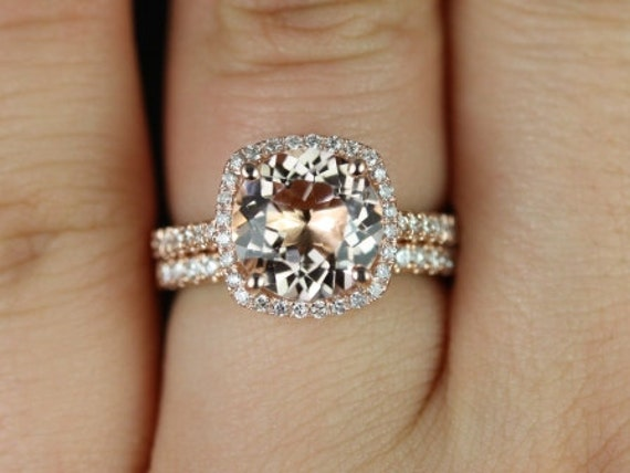 Rosados Box Barra 9mm Princess Size 14kt Rose Gold Thin Morganite and Diamond Cushion Halo Wedding Set Rings